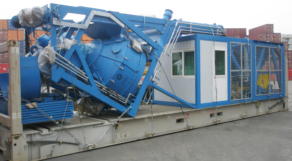 Mobile concrete mixing plant transport state