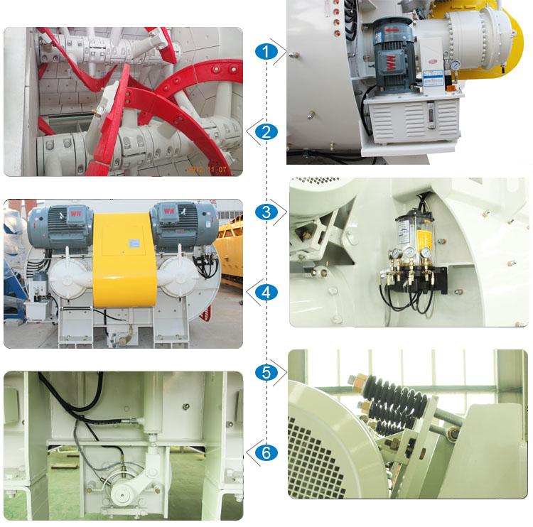 Twin screw concrete mixer